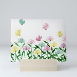 """Simplistic Spring Meadow"" watercolor illustration Mini Art Print"