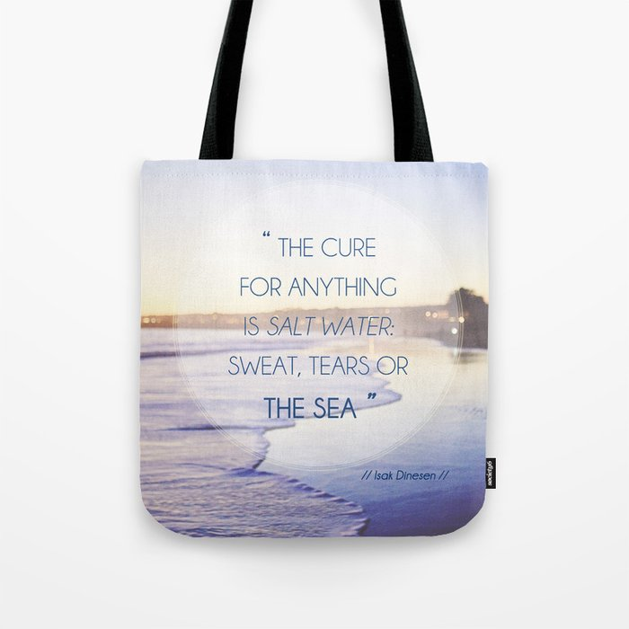 Salt Water Quote Ocean Photography Tote Bag
