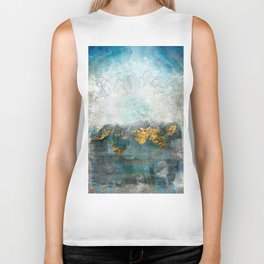 Lapis - Contemporary Abstract Textured Floral Biker Tank