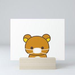 Cute bear korilakkuma wears a mask Mini Art Print
