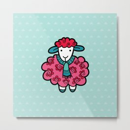 Doodle Sheep on Aqua Triangle Background Metal Print
