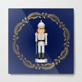 The Nutcracker Christmas Special - Toy King Nutcracker in Golden Christmas Wreath (Royal Blue) Metal Print