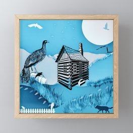 Fox & Pheasant Pastel Framed Mini Art Print