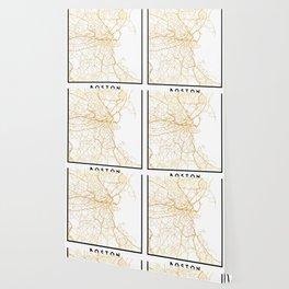 BOSTON MASSACHUSETTS CITY STREET MAP ART Wallpaper