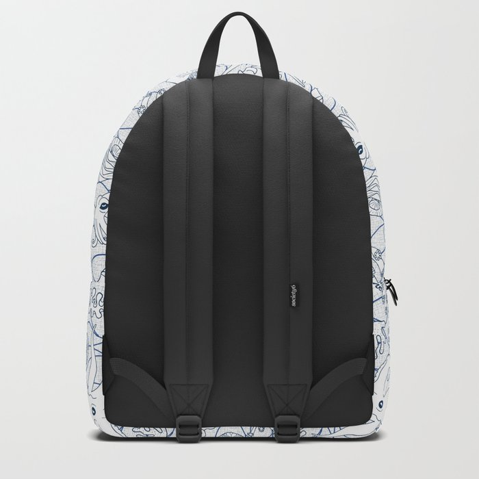 Cephalopods: White and Blue Backpack