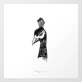 Palm Peacock Art Print