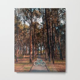 Fixie in the Autumn Forest - Art Print Metal Print