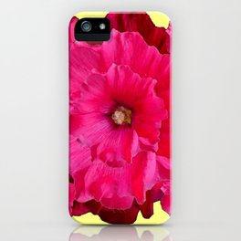 YELLOW FUCHSIA-PINK  DOUBLE  HOLLYHOCK FLOWERS GARDEN iPhone Case
