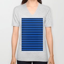 Across striped black and blue background Unisex V-Neck