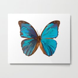Blue Iridescent Butterfly Painting Metal Print
