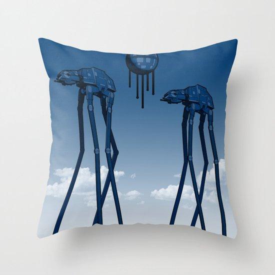 Dali's Mechanical Elephants - Blue Sky Throw Pillow
