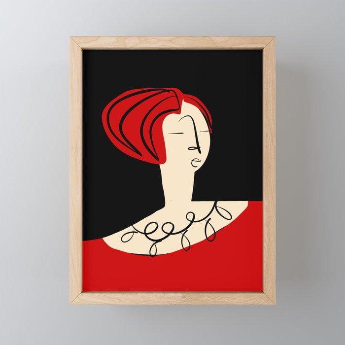 Red girl Framed Mini Art Print