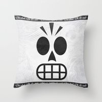 grim fandango Throw Pillows featuring GRIM FANDANGO - OLD SCHOOL, OH, IT'S COOL! by Be Yourself