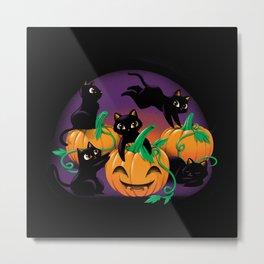 Hello Cat Halloween Metal Print