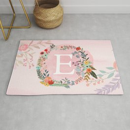Flower Wreath with Personalized Monogram Initial Letter E on Pink Watercolor Paper Texture Artwork Rug