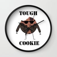 rileigh smirl Wall Clocks featuring Tough Cookie by Rileigh Smirl