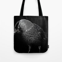 crow Tote Bags featuring crow by laurxy