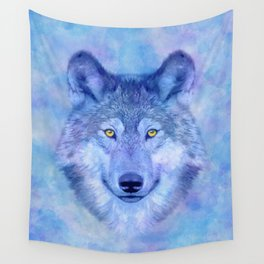 Sky blue wolf with Golden eyes Wall Tapestry