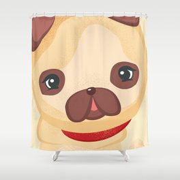 Cute Pug - Dog Lovers Kids Poster Shower Curtain