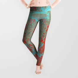 texture - aqua and red paint Leggings