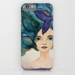 Watercolor Mermaid Blue Green Hair iPhone Case