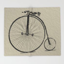 19th Century Bicycle Throw Blanket