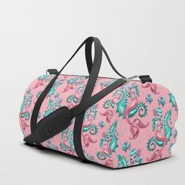 Mysterious Mermaid on Pink Duffle Bag