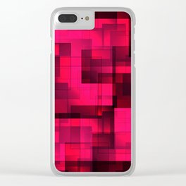 Mosaic of pink volumetric squares with a shadow. Clear iPhone Case