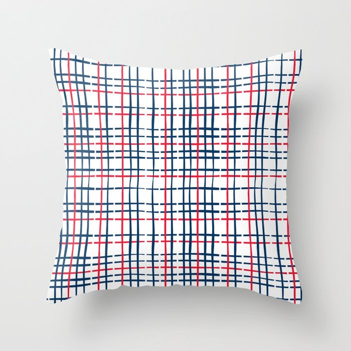 4th of July Skinny Gingham Throw Pillow