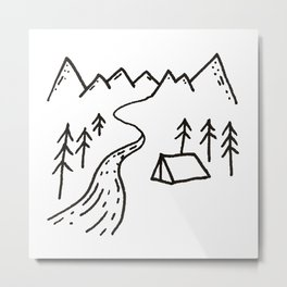 Camp by the River Metal Print