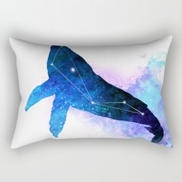 Space Whale | Whale Constellation | Double Exposure Whale Rectangular Pillow