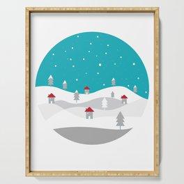 Xmas Winter White Christmas Scene, beautiful landscape winter Serving Tray