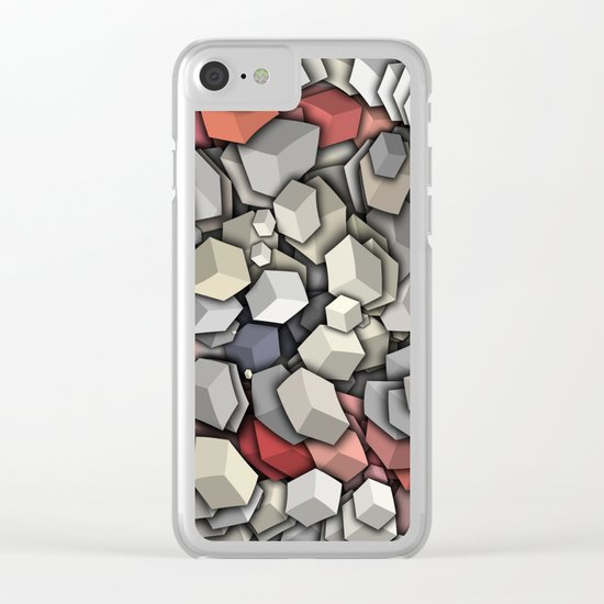 Chaotic 3D Cubes Clear iPhone Case