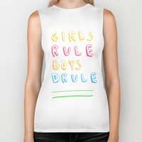 girl power Biker Tanks featuring Girl Power by Lovisa Valentino