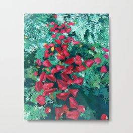 Rose Petals in Pool Water Art | Abstract Red Rose Floral Watercolor Art Print Metal Print