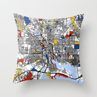 baltimore Throw Pillows featuring Baltimore  by Mondrian Maps