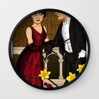 downton abbey Wall Clocks featuring Downton Nouveau by mikaelak