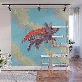 flying pig - by phil art guy Wall Mural