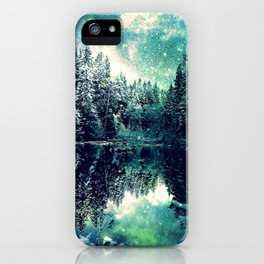 A Cold Winter's Night : Spearmint Teal Green Winter Wonderland iPhone Case
