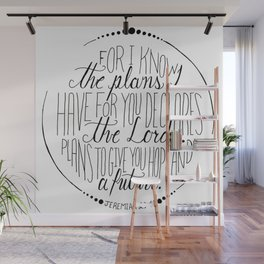 Hand Written Typography of Jeremiah 29:11 Wall Mural