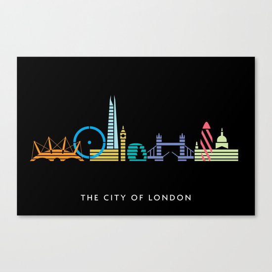 London Skyline Black Canvas Print