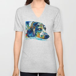 Colorful Beagle Dog Art By Sharon Cummings Unisex V-Neck