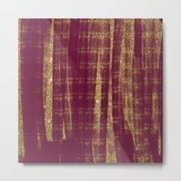 Abstract Watercolor Burgundy Red Gold Glitter Brushstrokes Metal Print