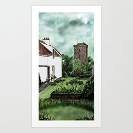 """Dysart in Fife, Scotland: The """"Hie Gait"""" and """"St Serf's"""" Tower [Colour version] Art Print"""