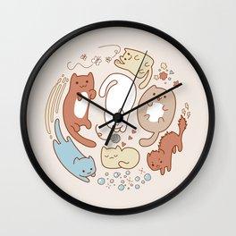 Seven cute cats. Wall Clock