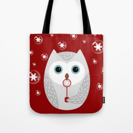 Christmas owl on red Tote Bag