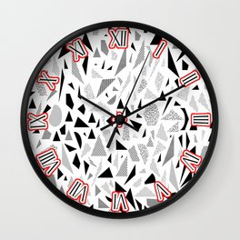 Memphis Elements Asymmenal Shapes Italian Deco 1980s Trendy Wall Clock