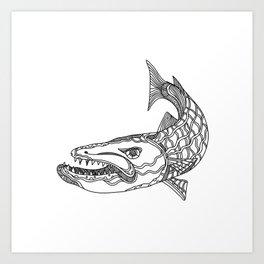 Barracuda Fish Doodle Art Art Print