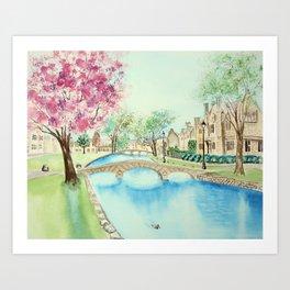 Summer in Bourton Art Print