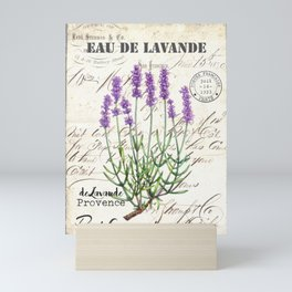 Lavender Antique Rustic Flowers Vintage Art Mini Art Print
